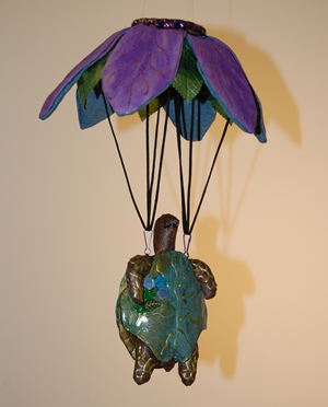 parachuting turtle sculpture