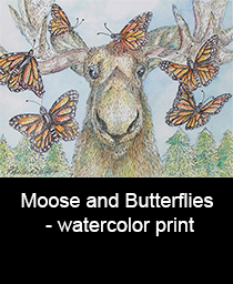 Moose and Butterflies watercolor print